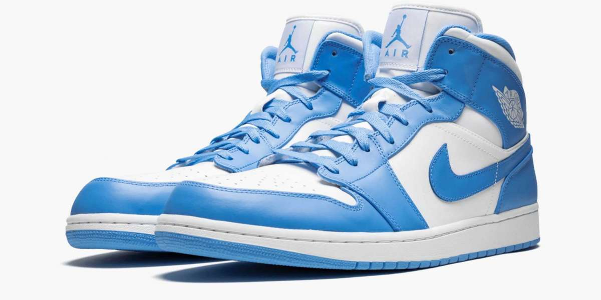 """Can you find the hot sale 554724-106 Air Jordan 1 Mid Retro """"UNC"""" Shoes?"""