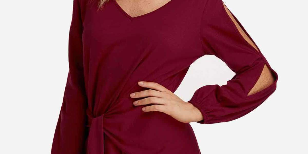 Round Neck Cold Shoulder Plain Lace Hollow Long Sleeve Red Plus Size Tops